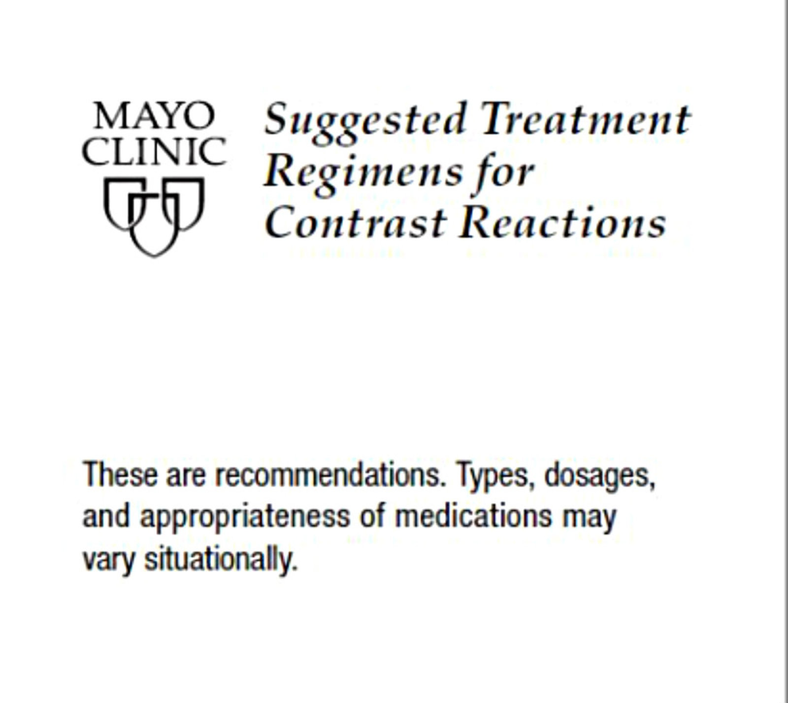 Suggested Treatment Regimens for Contrast Reactions (Tri-fold Guide)